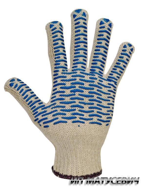 Перчатки трикотажные - Перчатки х/б с ПВХ, 7 класс, 62гр (волна) белые.