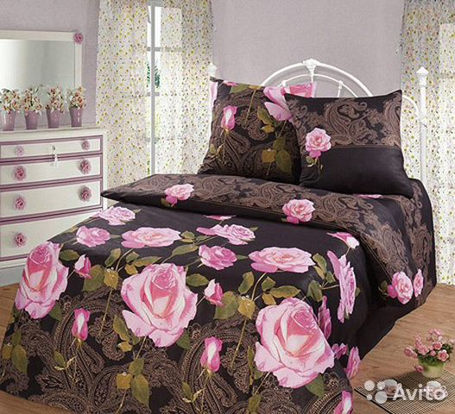 Комплект Постельного Белья Розы Евро Черное 3D  eb4bb17bd7ccc