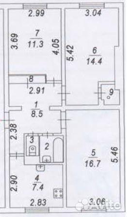 Продается трехкомнатная квартира за 3 900 000 рублей. Московская обл, г Наро-Фоминск, рп Калининец, д 253.