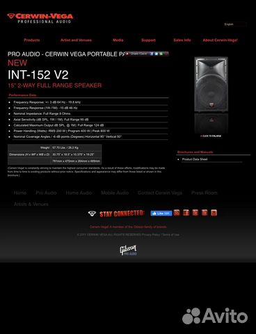 Cerwin-vega INT-152  89136811111 купить 3