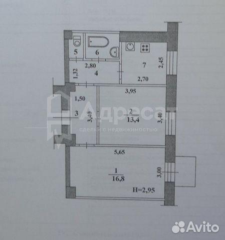 2-к квартира, 49.3 м², 4/4 эт.