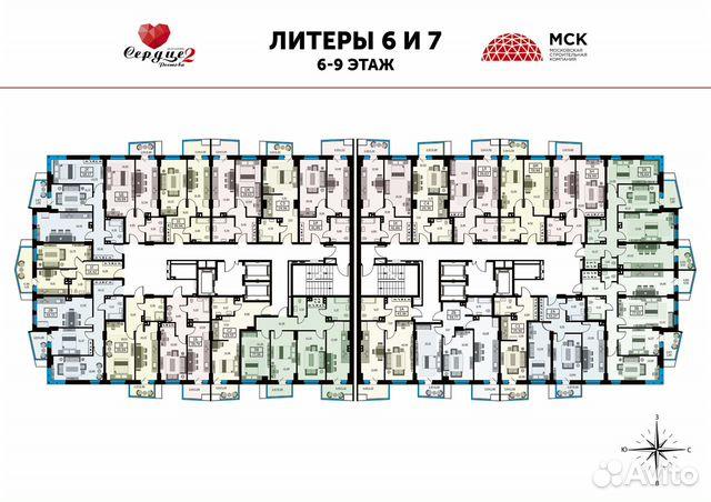 1-к квартира, 39.6 м², 23/25 эт. купить 6