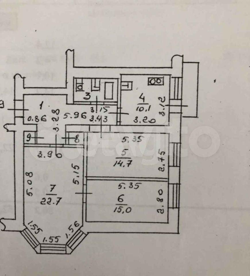 3-к квартира, 80.2 м², 4/5 эт.