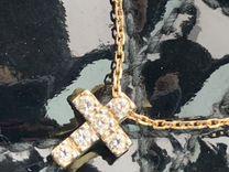 Крест золото с бриллиантами Колье