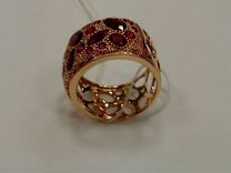 Золотое кольцо с Бриллиантами Рубинами