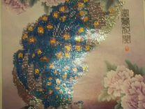 Картина стразами павлин 45см#73 см